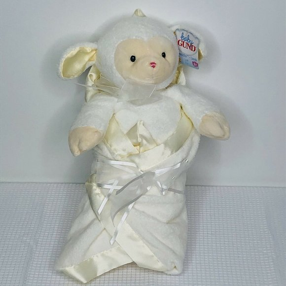 Baby Gund Swaddler Lamb Soft Toy With Satin Edge